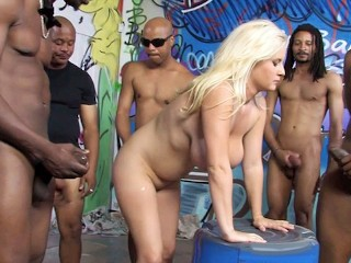 Busty Blonde Gangbang
