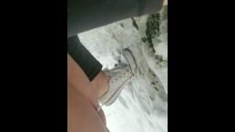Public outside pee in snow