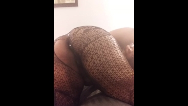 Ebony BBW with big ass does solo anal play