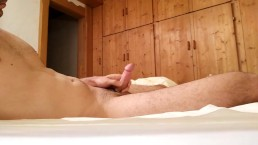 jerking off hard before going to bed with tight cockring, precum and cum