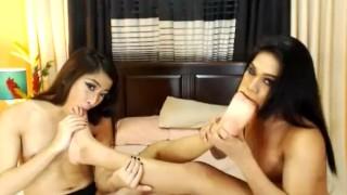 Two wild shemale enjoying their anal sex on cam porno