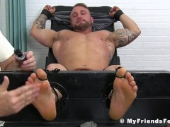 Nice looking stud all tied up and tickled until he cries