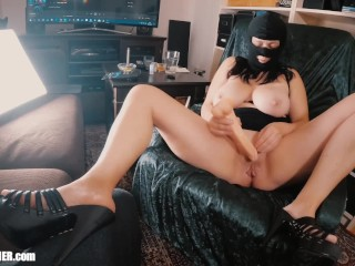Big boobed Mom-Slut Britney Masturbates & Swallows in a Spandex Fetish Mask