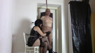 My nylon slave: Milking with leather gloves