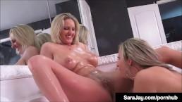 Masturbation Station Sara Jay & Blonde Bombshell Zoe Holiday!