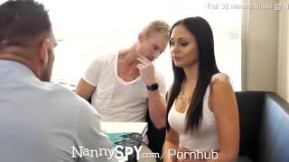 NANNYSPY Dad Makes His StepSon WATCH him FUCK his NANNY Girlfriend
