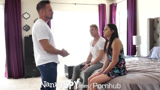 NANNYSPY Dad Makes His StepSon WATCH him FUCK his NANNY Girlfriend Of amateur