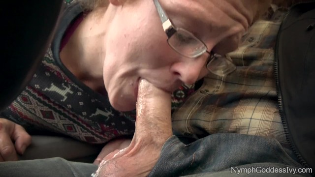 Red head milf Red head milf ivy sucking off hubby in public parking lot