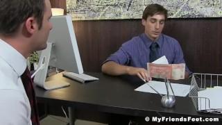 Pervert employee worships boss feet after work in his office Big milk