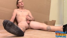 Straight hunk Lex Lane jerks off and makes that cum erupt
