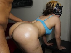 Light skin big booty chick gets smashed by huge black cock w/ mask on