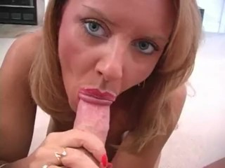 janet mason with beautifull eyes gives pov blowjob and sucks all cum out