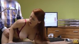 LOAN4K. Red-haired woman with impressive forms needs money