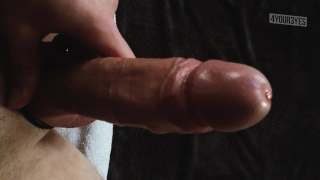 Jerking, edging, moaning & talking dirty ends in huge cumshot.