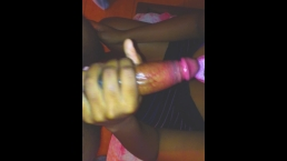 Sexy Jamaican teen with big boobs licks on my cock while givin me a handjob