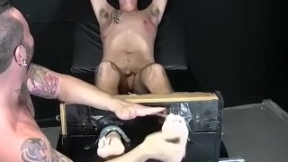 Restrained feet lover tickled and tormented with a feather