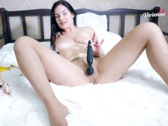 Girl with Pantyhose Play herself use Vibe Toy