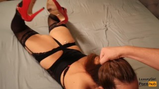 Hot cumshot sex and in on luxury pussy girl blowjob stockings pov cum