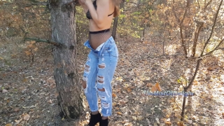 Horny woman loves to play with her tight ass in public park. 4k teen