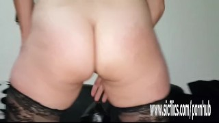 Sarah devours gargantuan dildos in her huge pussy Swallow cumshots