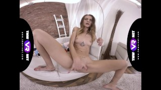 TmwVRnet.com - Adelle - Cutie rubs pussy on couch