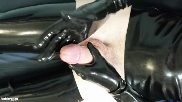 Latex glove masturbation with big cock cumshot in shiny rubber clothes
