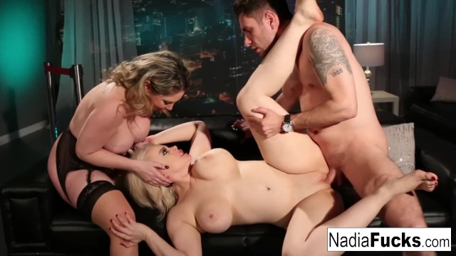 Hot club goers double team a big dick stud together!