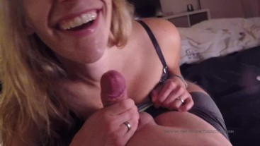 cute MILF in boots licks cock until huge cumshot - cum