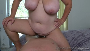 Horny BBW wife orgasms fast then drains her pussy on me. Nice creampie