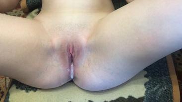 My roommate fucks me and cum inside (Close Up Creampie)