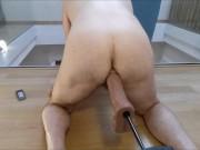 Balls deep, super big, super fast ass fuck, moaning str8 guy by sex machine