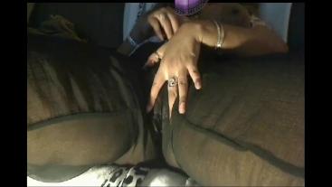 I masturbated my throbbing wet pussy in my silk pants cum P2