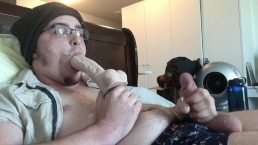 Guy Cums On His Own Face & Glasses! Encouraged into Dildo BJ Self Facial!