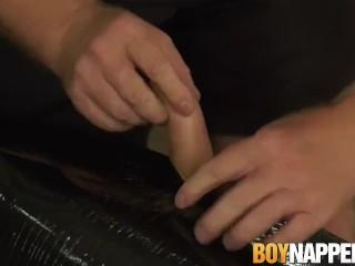 Mature pervert makes his restrained twink cum blast