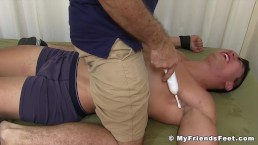 Restrained hunk wants to cry from all of this tickling
