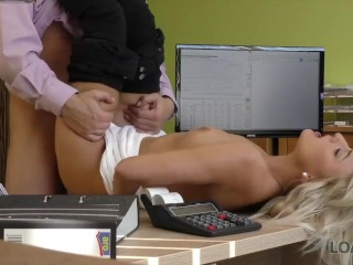 LOAN4K. Sweet blonde-haired princess gives herself to loan agent