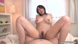 Big breasted Japanese babe Yuna Hoshizaki rides cock in POV