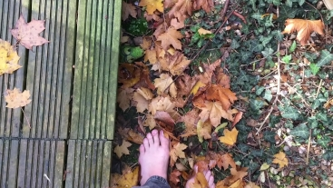 Walking Barefoot in Autumn Leaves