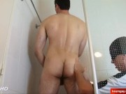 Nice hetero neighbour serviced in a gay porn in spite of him.