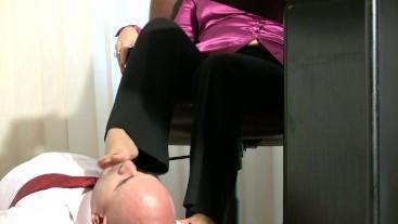 Feet worship in office