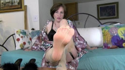 Sole Sucking Stocking Seduction - Mrs Mischief foot fetish milf FEET pov