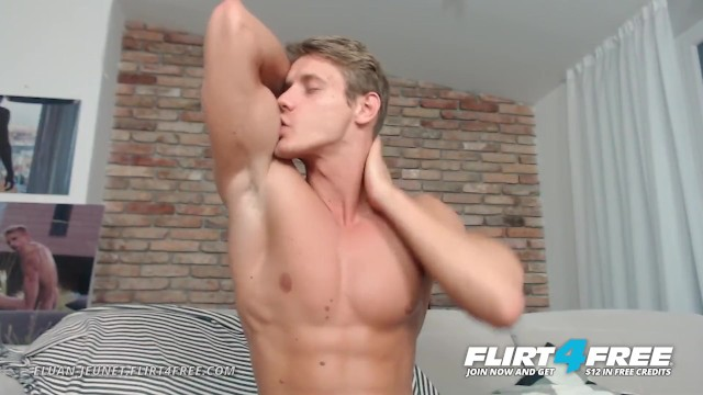 Huge cock gay guy - Eluan jeunet on flirt4free - perfect ripped model stroking his huge cock