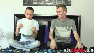 Skinny blond twink interviewed before tugging his fat cock