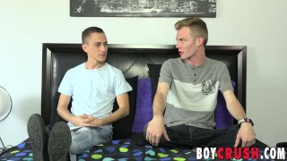 Twink interviewed skinny cock blond his before tugging fat dick blonde