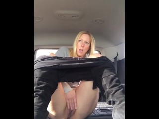 Blond MILF squirts in rental vehicle!!