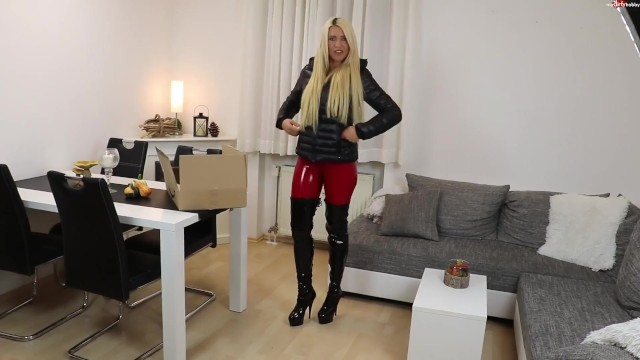 Young nude puffy Blonde german in black puffy jacket sex