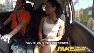 Fake Driving School Ebony American minx Kira Noir craves cock creampie Naked outdoors