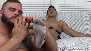 And with two session jerk studs feet worship horny off toes foot