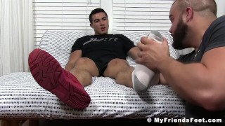 Feet worship and jerk off session with two horny studs Sucking rough