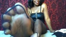 Hot Ebony Femdom Ripped Stockings Foot & Soft Soles Tease